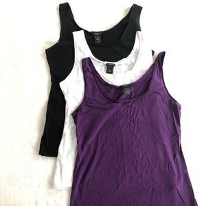 Ann Taylor tanks. Black white and purple.